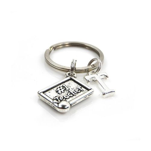 Personalised No 1 Teacher Keyring with Initial Charm and Optional Birthstone